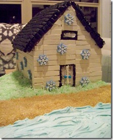 gingerbread house on beach