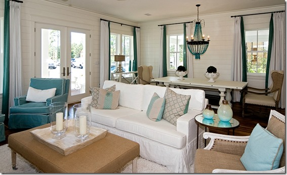 turquoise and white room